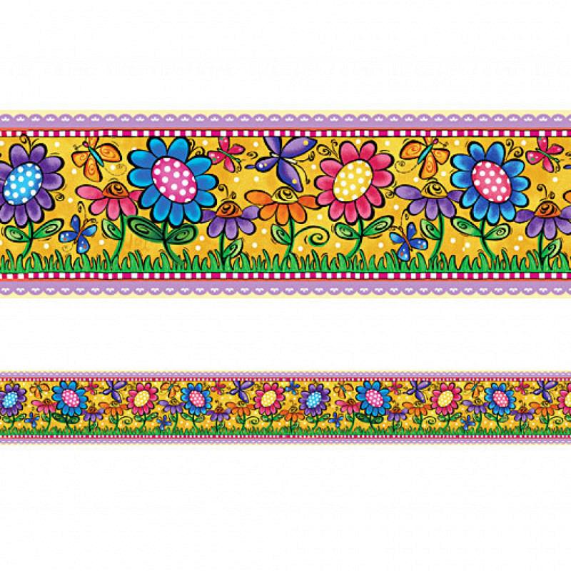 Bordüre bunte Blumen und Schmetterlinge