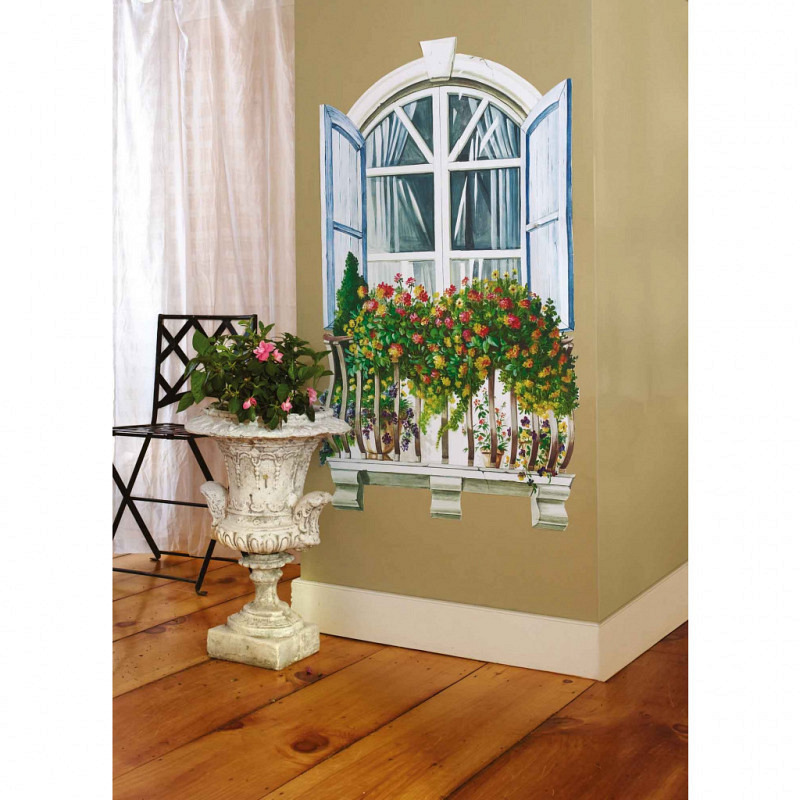 Wandsticker Fenster Paris Blumenfenster