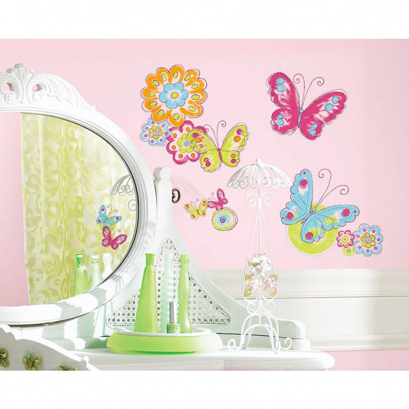 RoomMates Wandsticker floraler Schmetterling