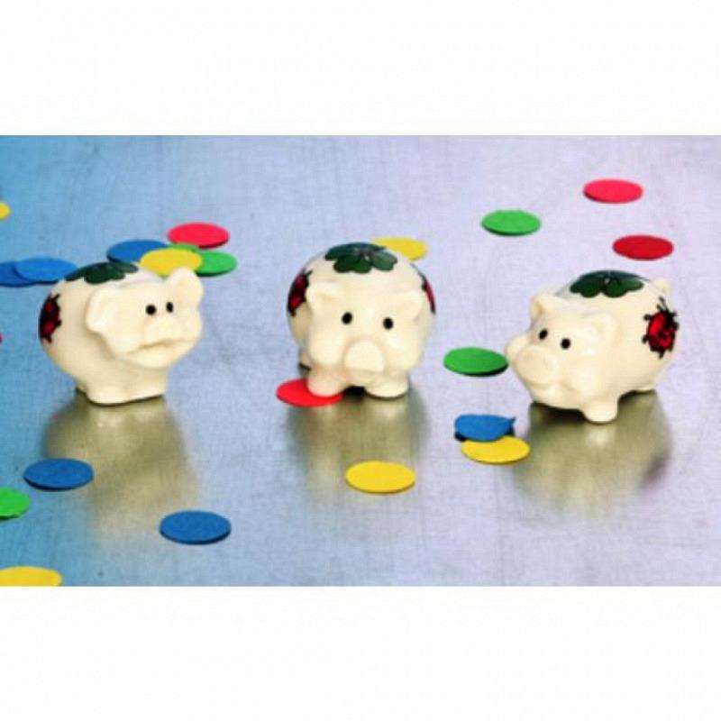 Porzellan Glückschweinchen weiß 2er Set