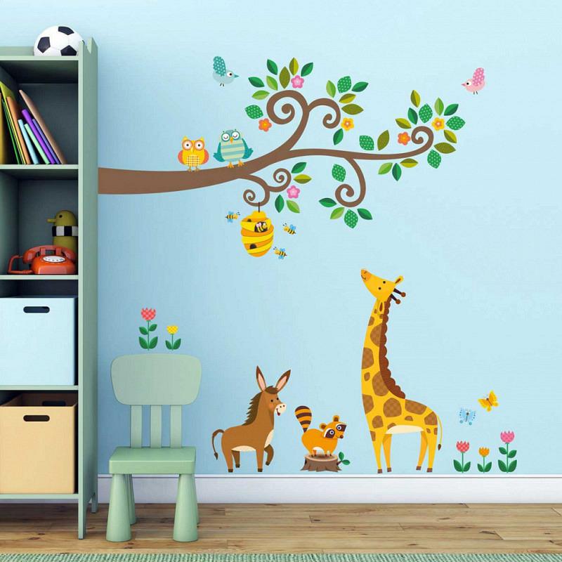 Wandsticker Tiere am Baum