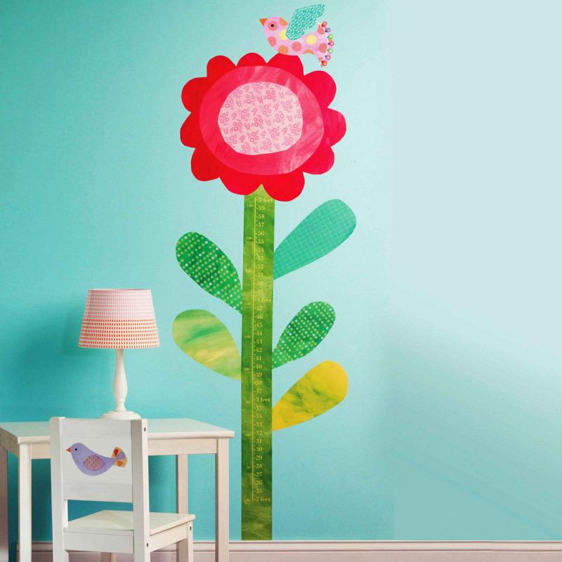 Wallies Wandsticker Messlatte Blume mit Vogel