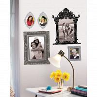 wandsticker tattoo bilderrahmen metallic silber wohnzimmer. Black Bedroom Furniture Sets. Home Design Ideas