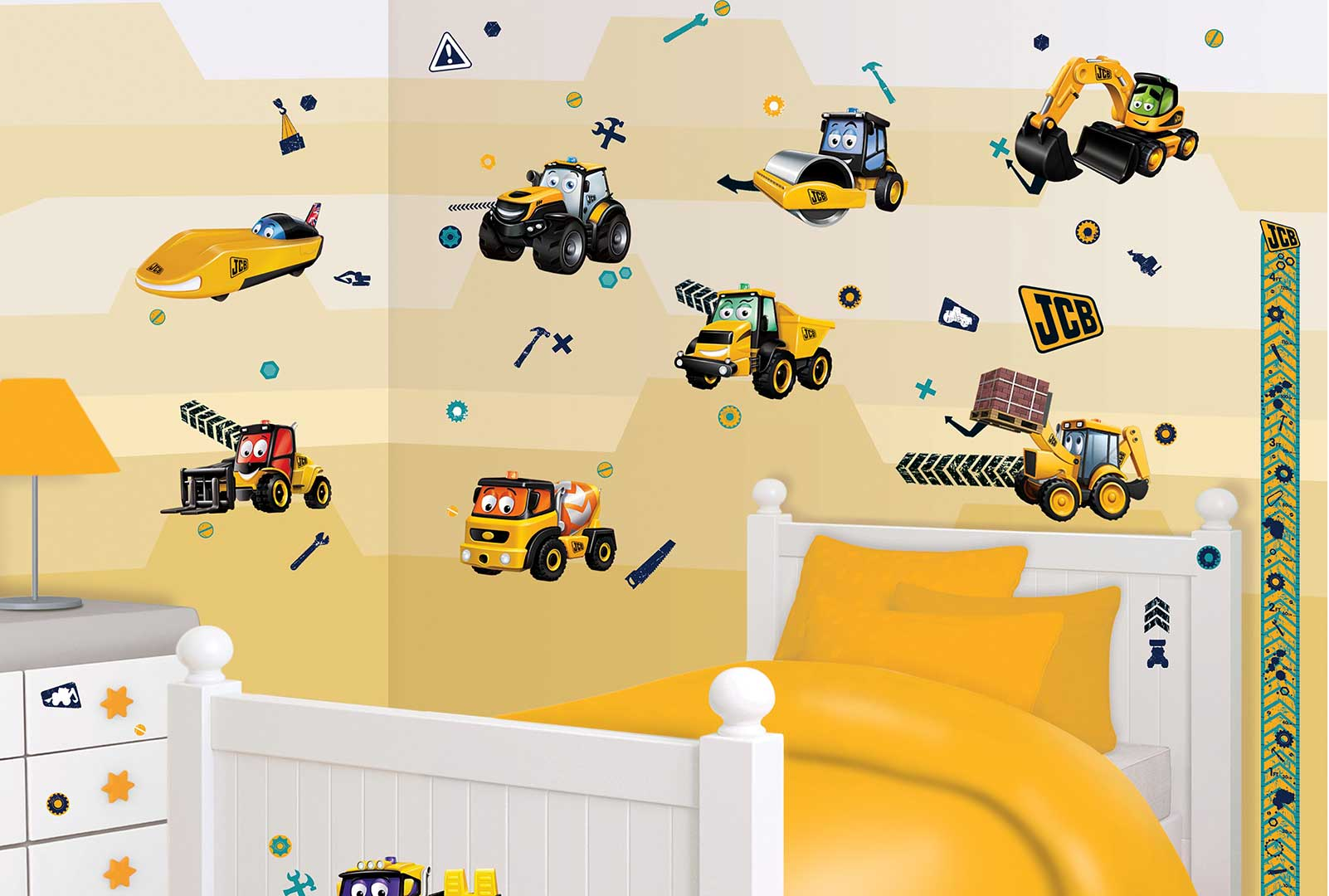 walltastic wandtattoo kinderzimmer baustelle jcb wandsticker kinderzimmer neu ebay. Black Bedroom Furniture Sets. Home Design Ideas