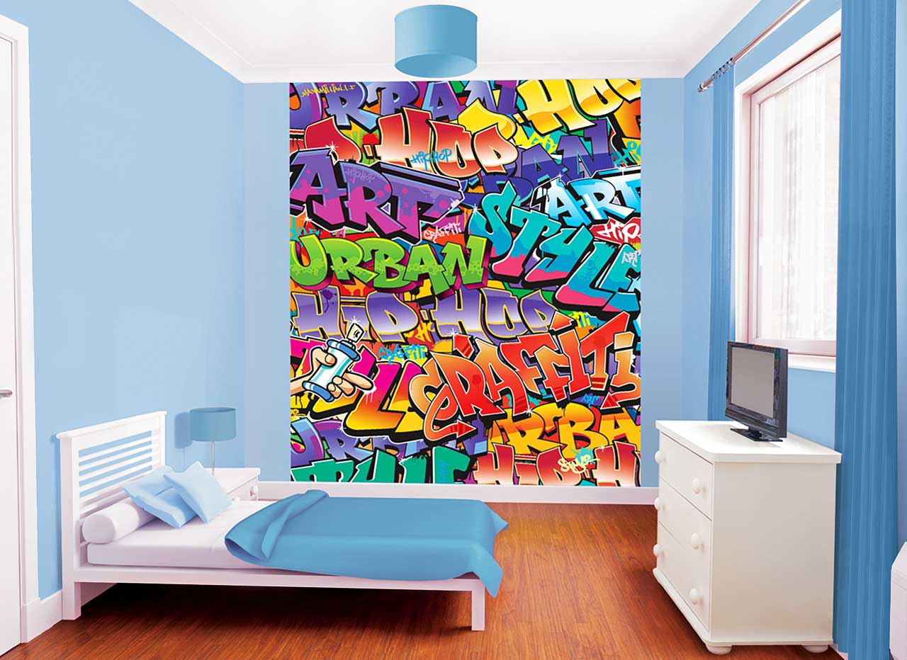 fototapete kinderzimmer wandbild graffiti sprayer urban style mit tapetenleim ebay. Black Bedroom Furniture Sets. Home Design Ideas