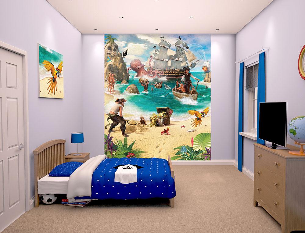 Fototapete Kinderzimmer Piraten Schatzinsel-Walltastic ...