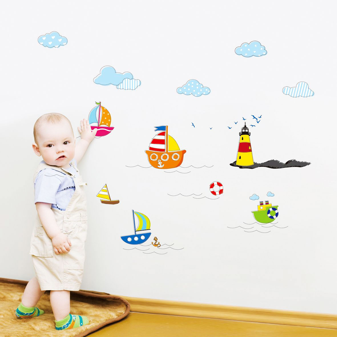 wandsticker wandtattoo schiffe boote dampfer leuchtturm babyzimmer kinderzimmer ebay. Black Bedroom Furniture Sets. Home Design Ideas