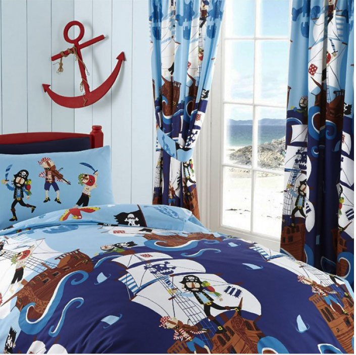 kids club kinderzimmer gardine piraten schiff 168x183 cm www 4. Black Bedroom Furniture Sets. Home Design Ideas