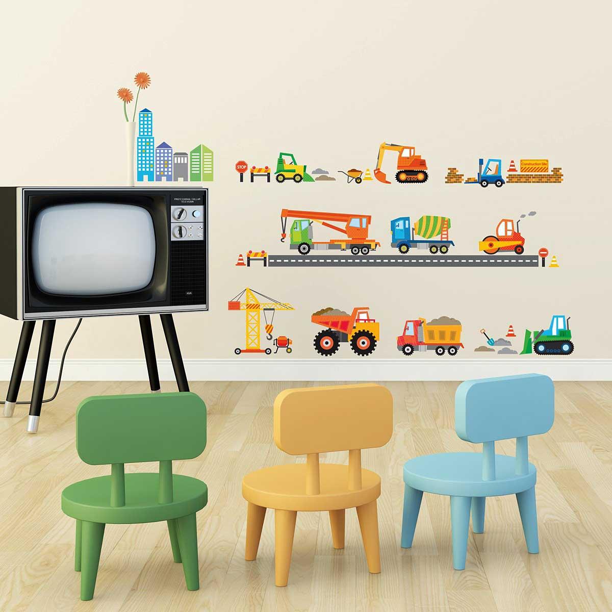 Wandsticker Baustelle Baufahrzeuge Kinderzimmer