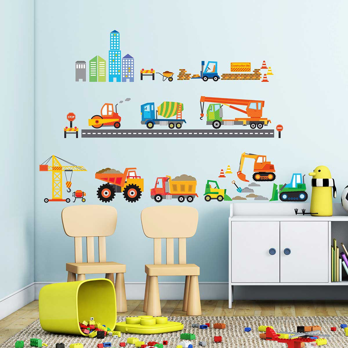 wandsticker baustelle baufahrzeuge wandsticker kinderzimmer. Black Bedroom Furniture Sets. Home Design Ideas