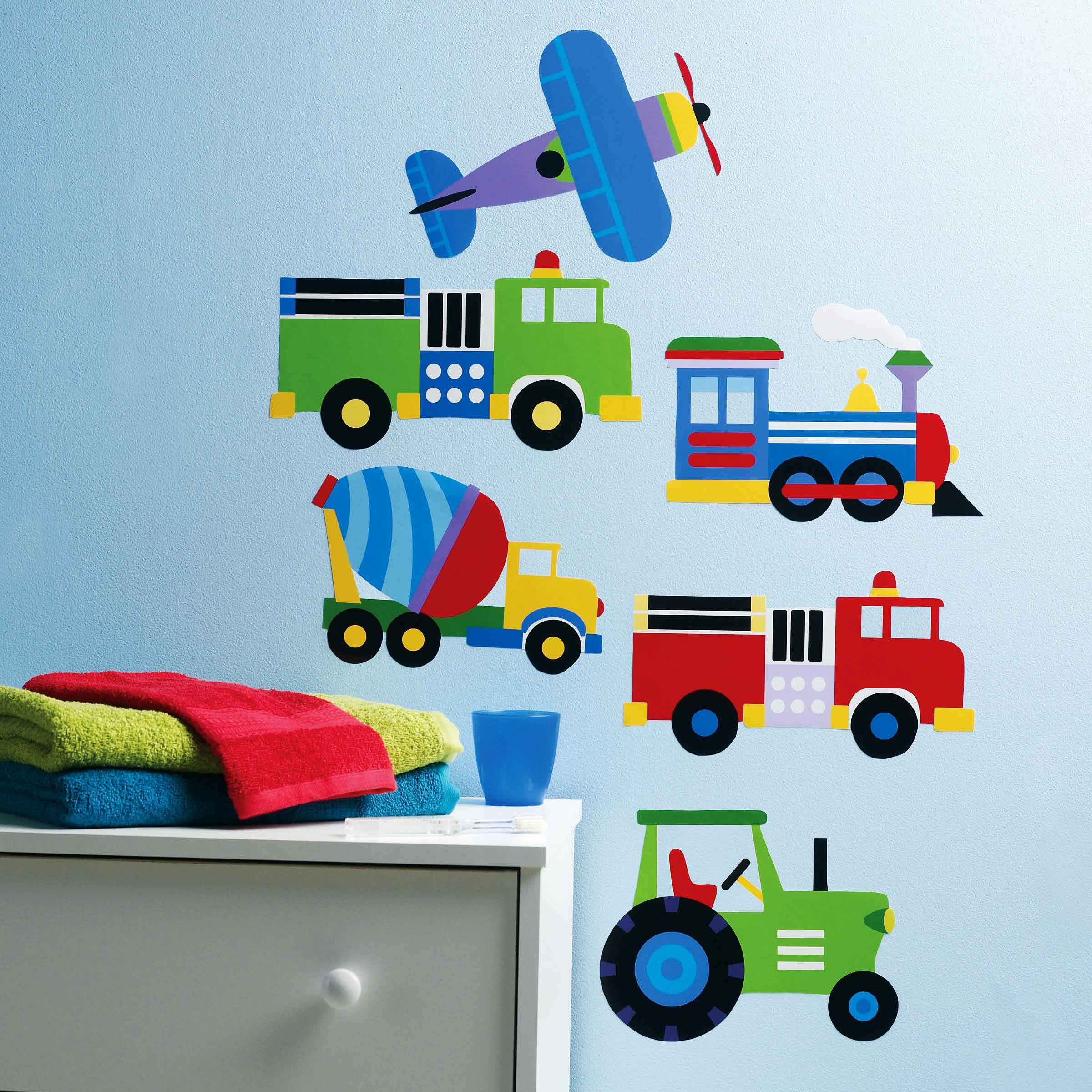 Wandsticker Fahrzeuge Autos Loks LKW Traktoren-Kinderzimmer