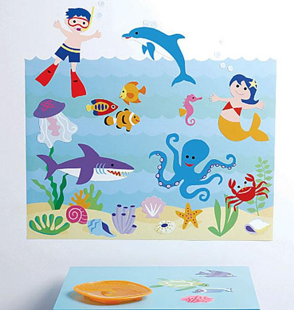 Wandsticker fische seeaquarium kinderzimmer for Aquarium im kinderzimmer