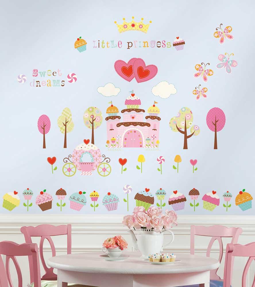 wandsticker wandtattoo cupcake castle schloss kinderzimmer prinzessin neuware ebay. Black Bedroom Furniture Sets. Home Design Ideas