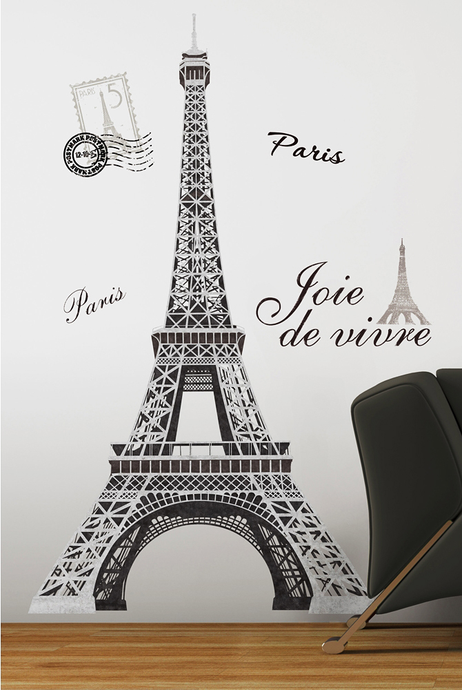 roommates wandsticker wandtattoo eiffelturm paris www 4. Black Bedroom Furniture Sets. Home Design Ideas