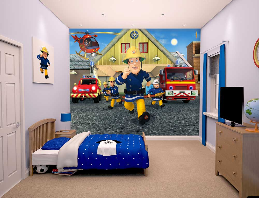 fototapete kinderzimmer wandbild fireman sam feuerwehrmann sam kinder tapete ebay. Black Bedroom Furniture Sets. Home Design Ideas
