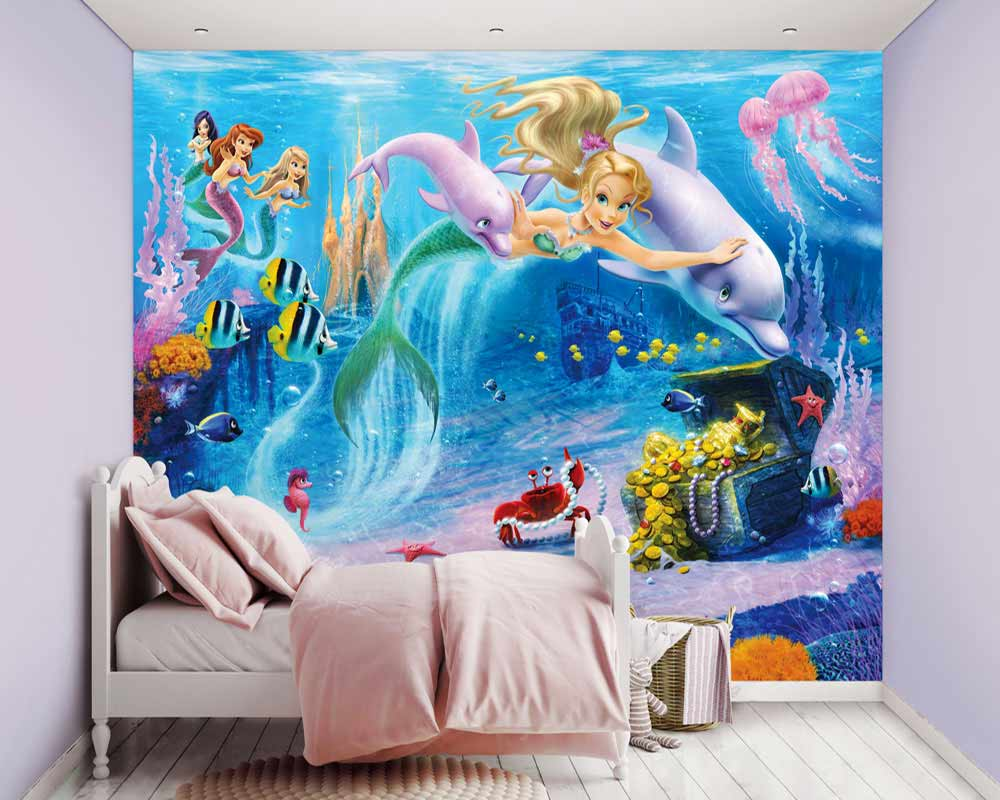 fototapete wandbild fische delfine meerjungfrau mermaids. Black Bedroom Furniture Sets. Home Design Ideas