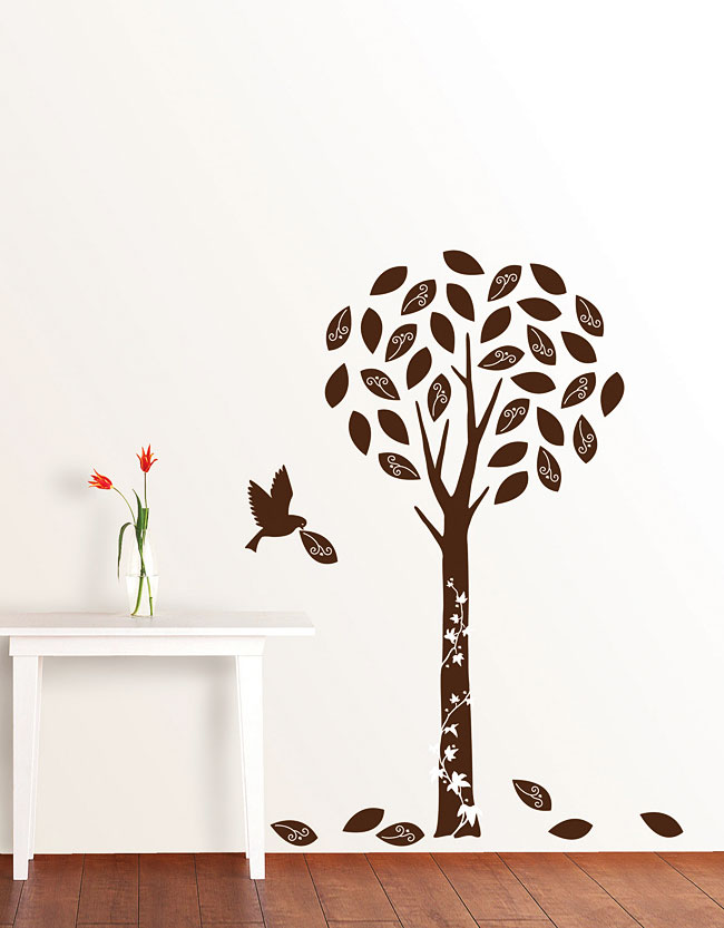 luxus wandsticker wandtattoo baum in braunem samt www 4. Black Bedroom Furniture Sets. Home Design Ideas