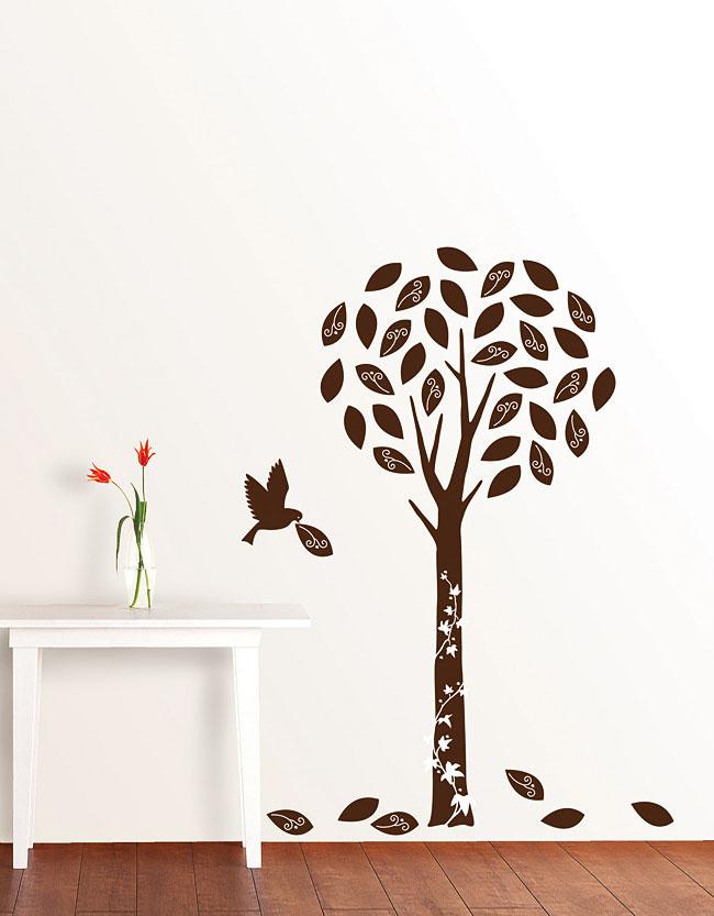 wandsticker baum in braunem samt luxus velour. Black Bedroom Furniture Sets. Home Design Ideas
