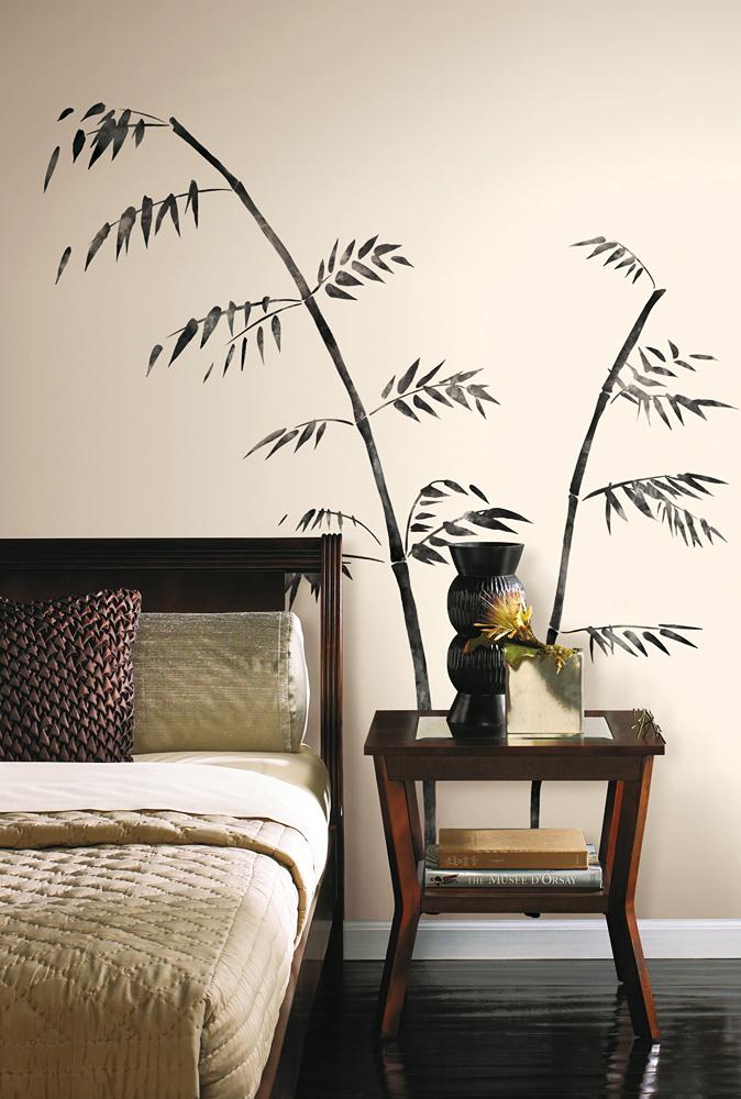 roommates wandsticker asiatischer gemalter bambus wohnzimmer. Black Bedroom Furniture Sets. Home Design Ideas