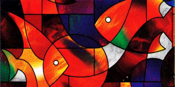 Fensterfolie selbstklebend mosaik farbe fische fensterfolien for Selbstklebende dekorfolie