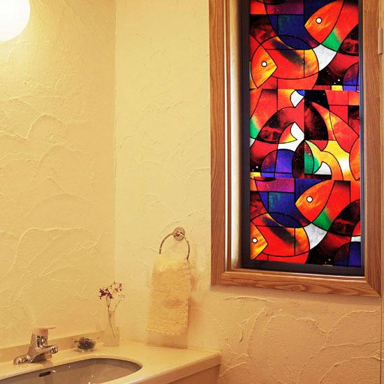 Fensterfolie selbstklebend mosaik farbe fische fensterfolien for Dekorfolie bad