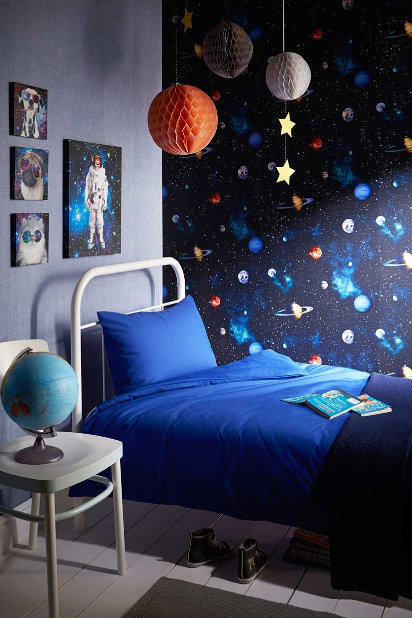 tapete planeten sterne sonnensystem 3d jungenzimmer. Black Bedroom Furniture Sets. Home Design Ideas