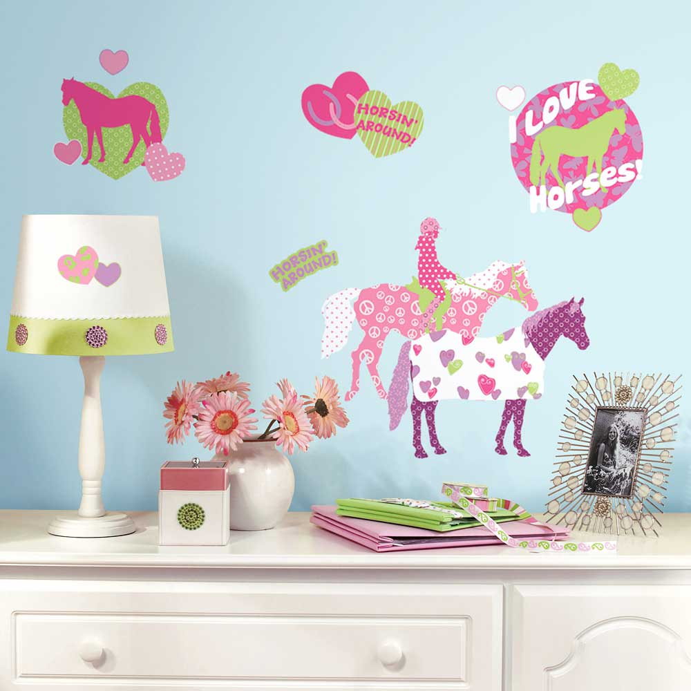 roommates wandsticker wandtattoo pferde reiten kinderzimmer. Black Bedroom Furniture Sets. Home Design Ideas