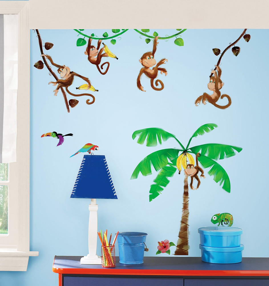 roommates wandsticker wandtattoo monkey 39 s affen www 4. Black Bedroom Furniture Sets. Home Design Ideas