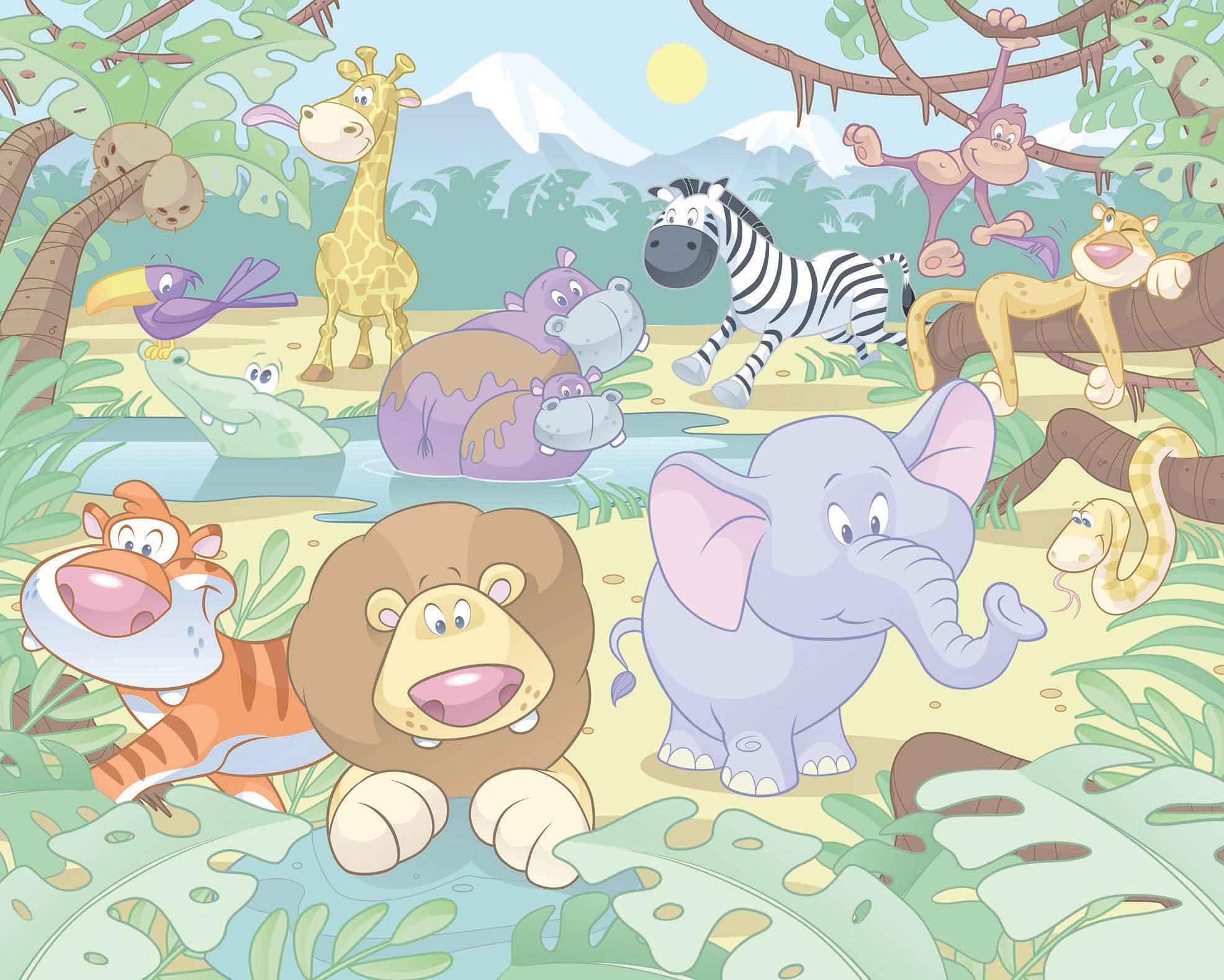 Fototapete Kinderzimmer Baby Dschungel Safari-Walltastic Fototapete