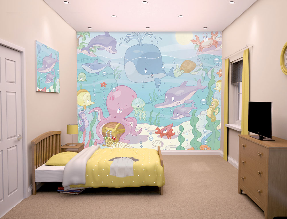 fototapete wandbild baby unterwasserwelt fische under the sea delfine www 4. Black Bedroom Furniture Sets. Home Design Ideas