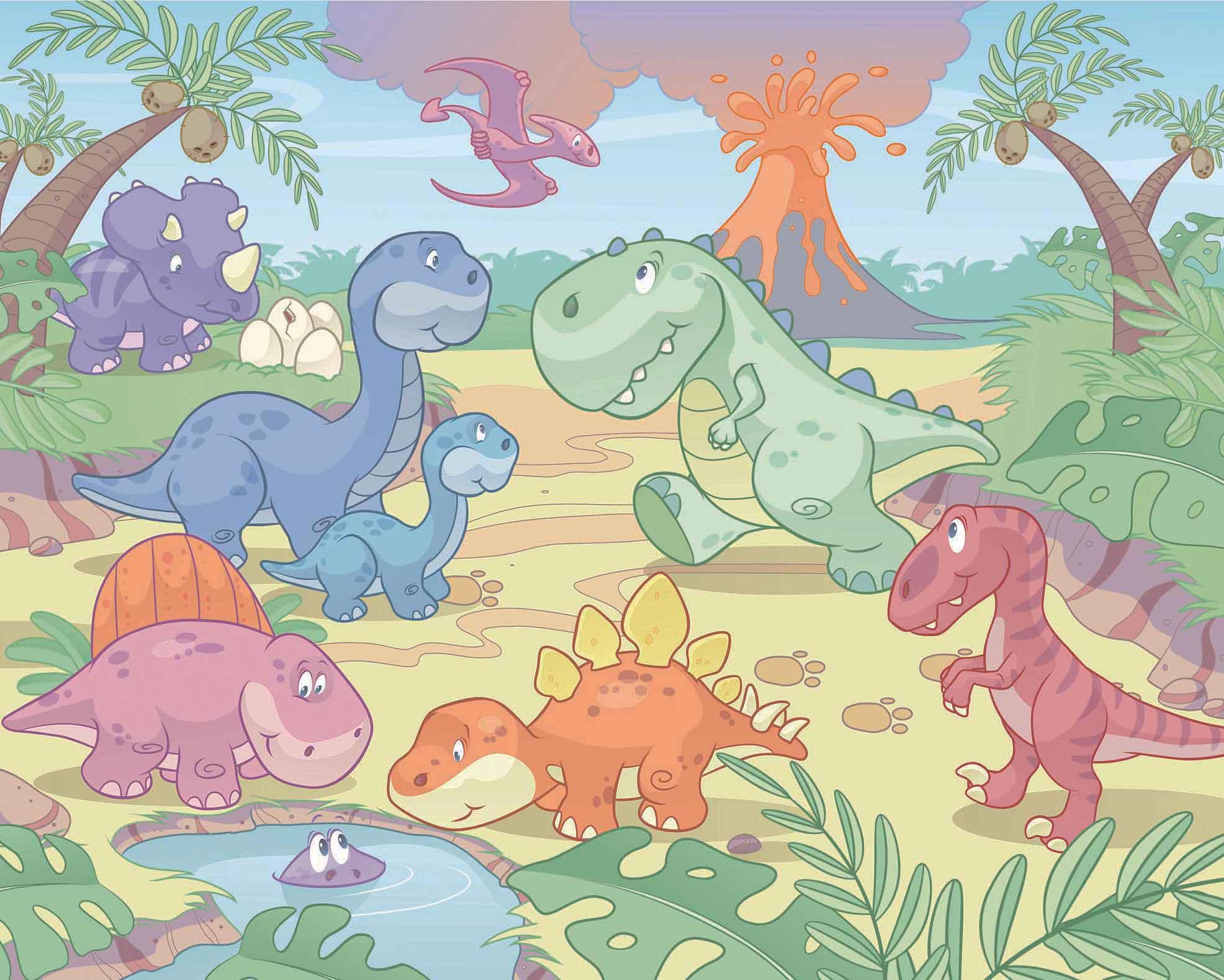 Walltastic Fototapete Riesen Wandbild Baby Dinosaurier Dino World