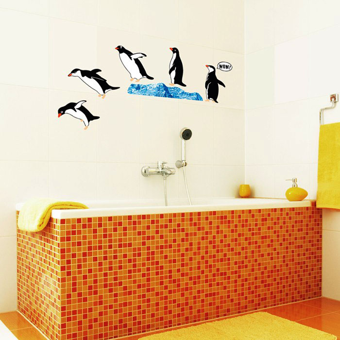 wandsticker wandtattoo tauchende pinguine pinguin bad deko www 4. Black Bedroom Furniture Sets. Home Design Ideas