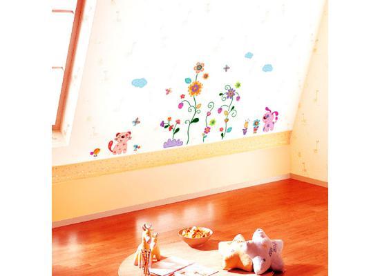 Wandsticker wandtattoo retro tiere mit blumen wandpuzzle - Wanddekoration kinderzimmer ...