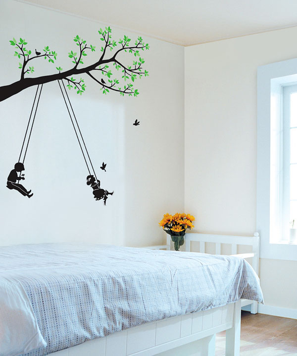 wandsticker wandpuzzle wandtattoo kinder auf der schaukel www 4. Black Bedroom Furniture Sets. Home Design Ideas