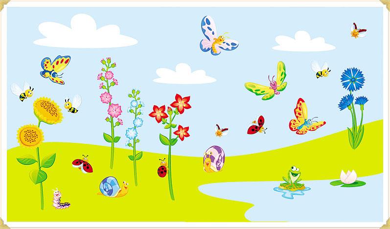wandtattoo schmetterlingswiese fly my butterfly kinderzimmer. Black Bedroom Furniture Sets. Home Design Ideas