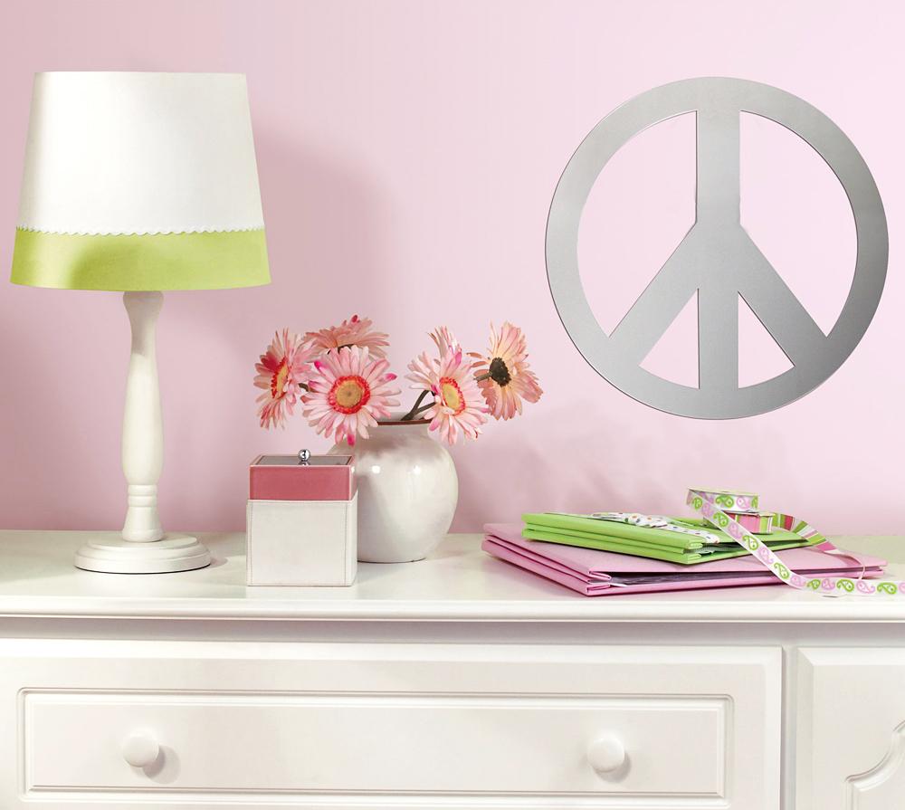 Roommates wandsticker spiegel peace zeichen spiegel sticker for Wandsticker jugendzimmer