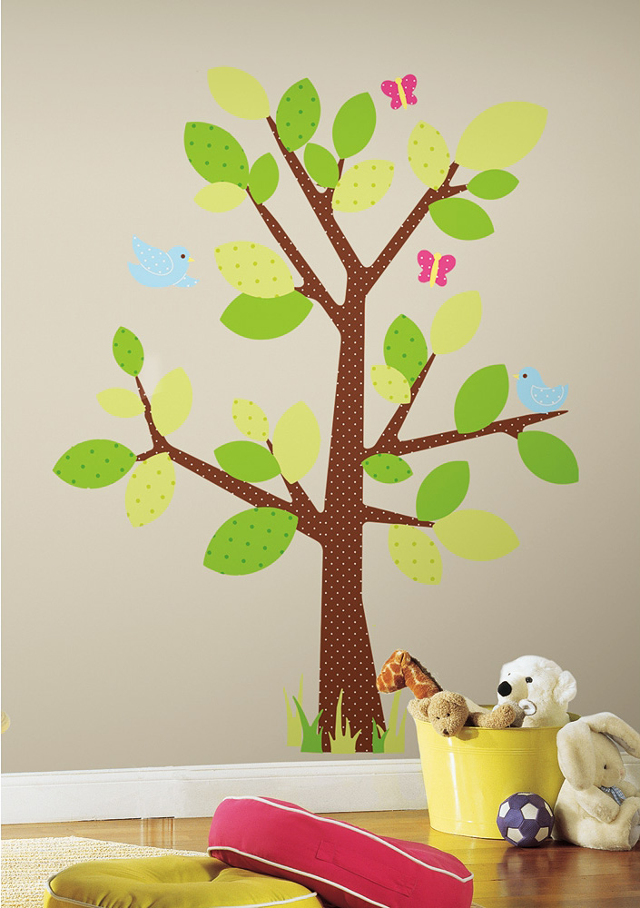 wandsticker wandbild punkte baum v gel kinderzimmer deko ca 127 cm babyzimmer ebay. Black Bedroom Furniture Sets. Home Design Ideas