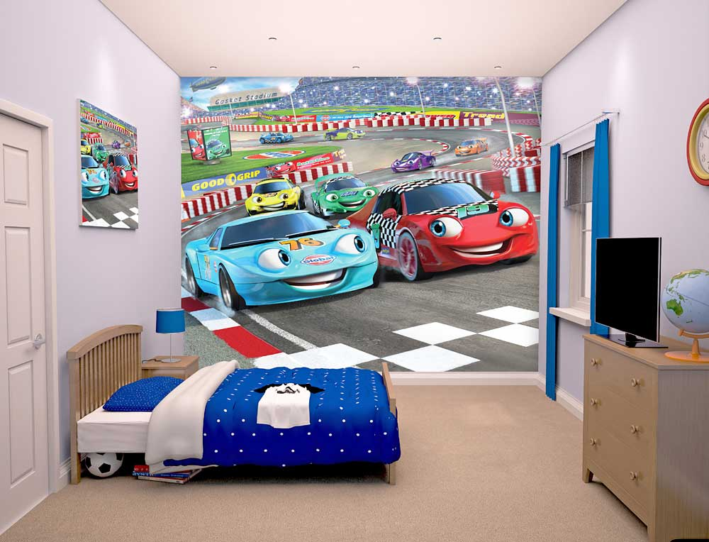 fototapete kinderzimmer rennauto car racers walltastic fototapete. Black Bedroom Furniture Sets. Home Design Ideas