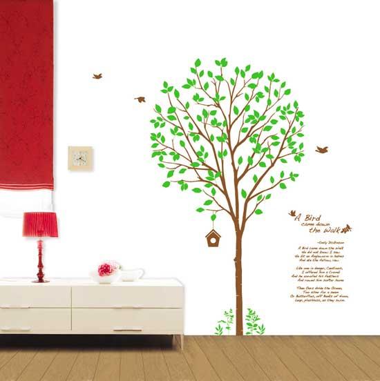 wandtattoo gro er baum mit v geln blumen baum. Black Bedroom Furniture Sets. Home Design Ideas