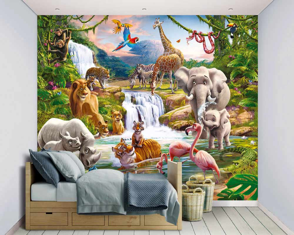 fototapete wandbild kinderzimmer dschungel tiere afrika. Black Bedroom Furniture Sets. Home Design Ideas