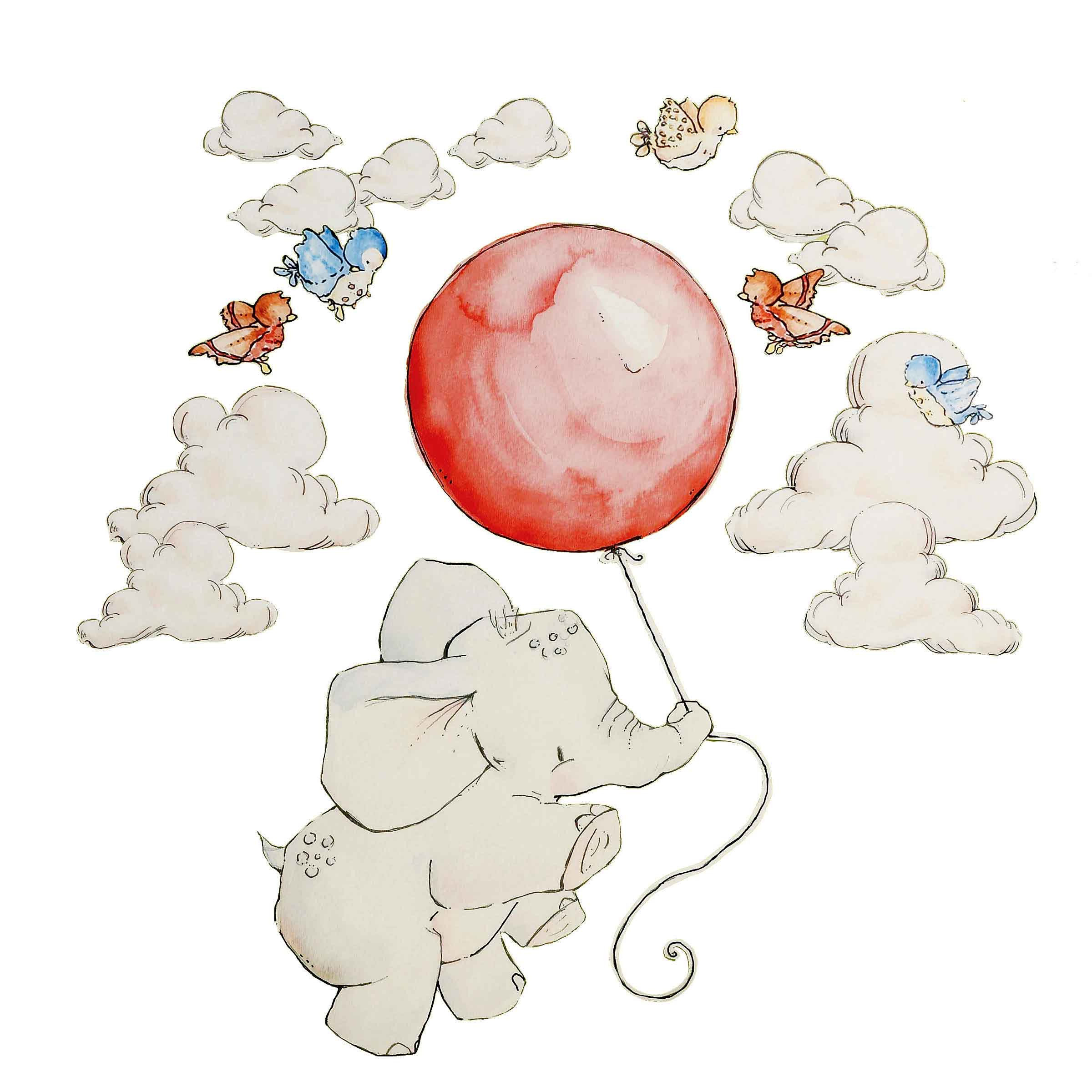 wallies wandsticker wandaufkleber babyzimmer alle elefanten fliegen hoch in den wolken www 4. Black Bedroom Furniture Sets. Home Design Ideas