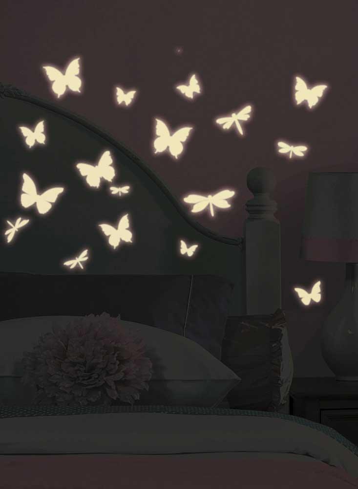 Wandsticker schmetterlinge libellen leuchtend im dunkeln - Leuchtende wandtattoos ...