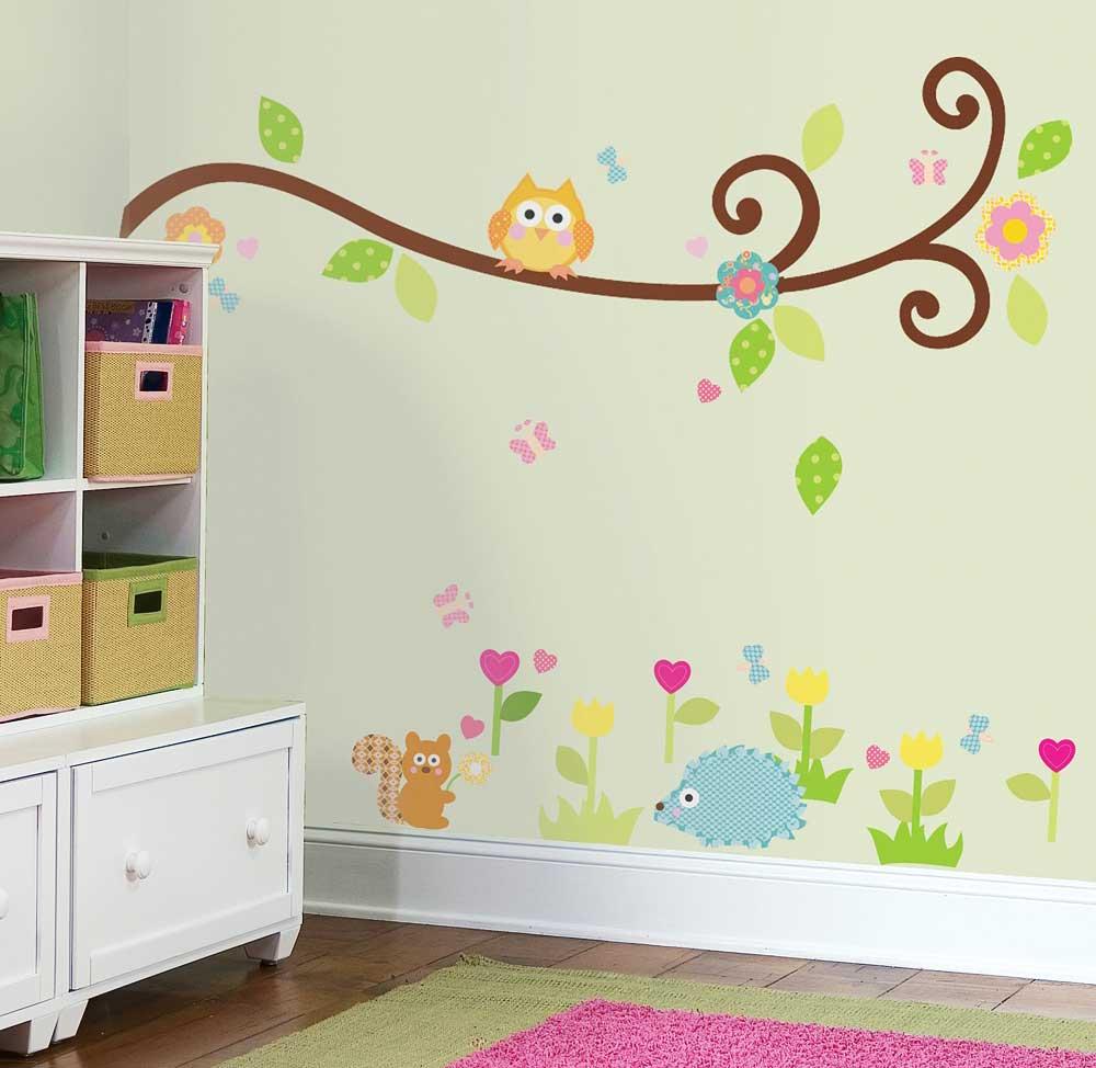 roommates wandsticker scroll tree zweig kinderzimmer. Black Bedroom Furniture Sets. Home Design Ideas