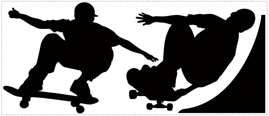 roommates wandsticker wandtattoo kreidetafel skater www. Black Bedroom Furniture Sets. Home Design Ideas