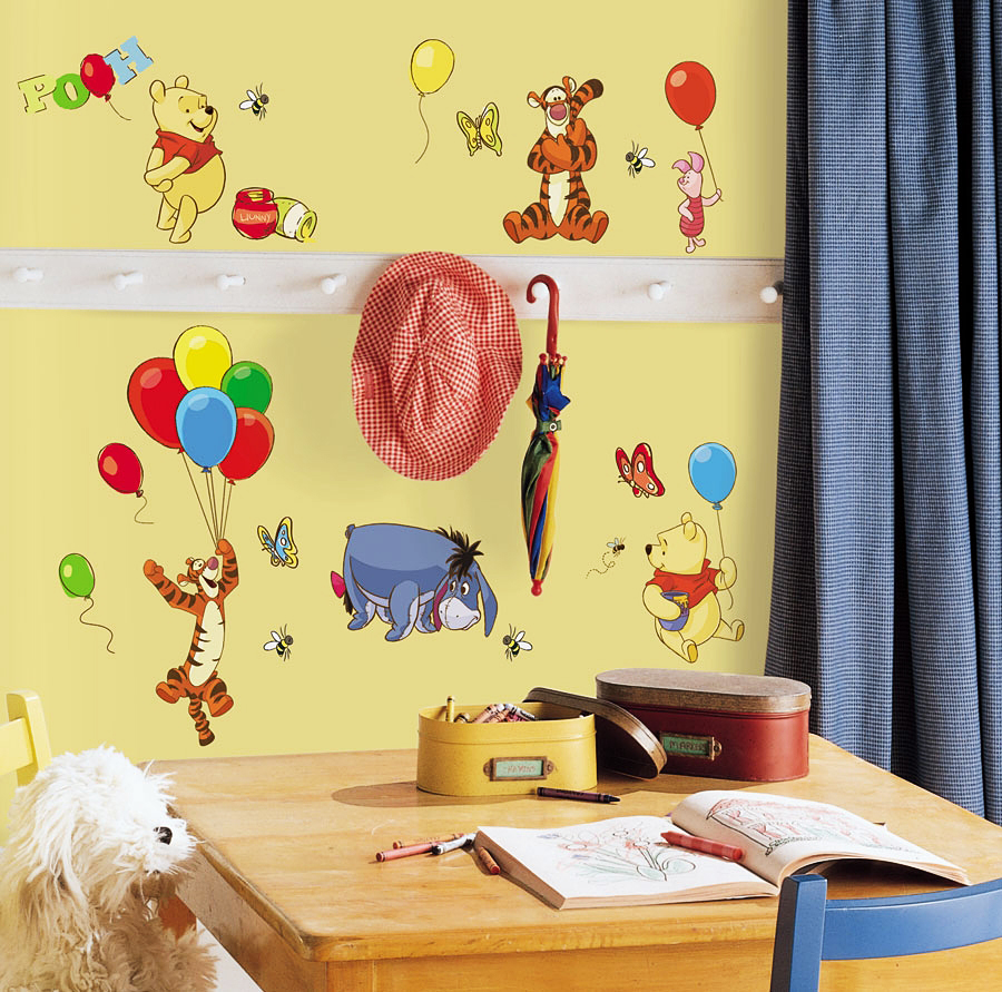 roommates wandsticker wandtattoo wandaufkleber disney winnie pooh www 4. Black Bedroom Furniture Sets. Home Design Ideas