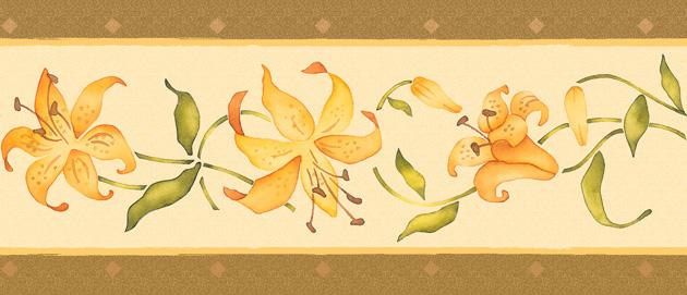 Wand Tapeten Selbstklebend : FixPix Bord?re Tapeten Borte Bl?ten Blumen orange selbstklebend