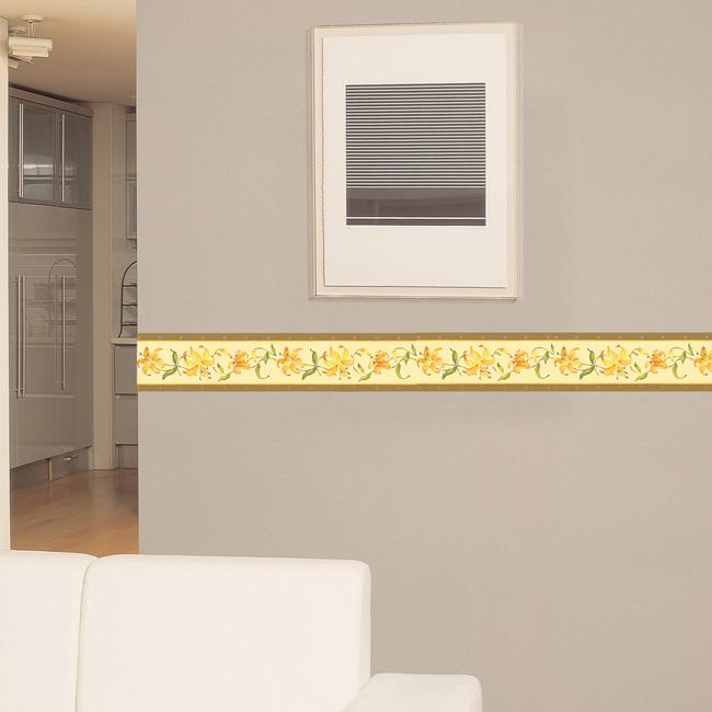 fixpix bord re tapeten borte bl ten blumen orange. Black Bedroom Furniture Sets. Home Design Ideas