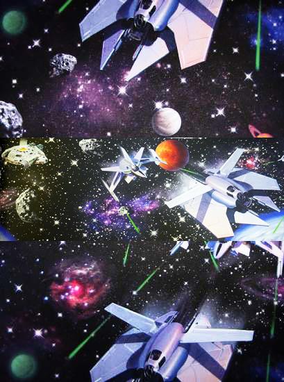 Tapete raumschiff planeten weltall universum wanddeko for Weltraum deko kinderzimmer