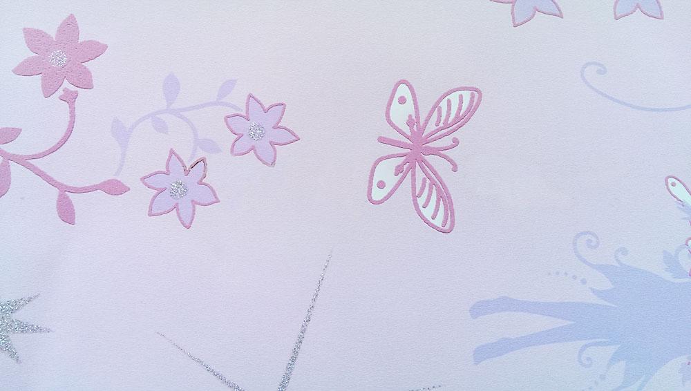 Kinderzimmer Tapete Neutral : Tapete Kinderzimmer Fairies Elfen Feen pink mit Silber Glitter Glitzer