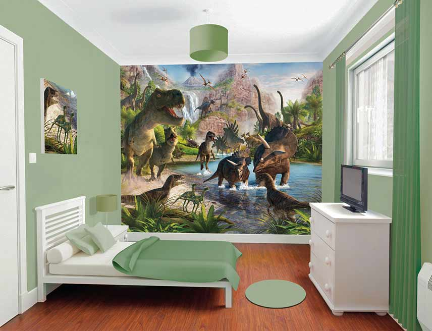 walltastic fototapete kinderzimmer wandbild dinos dinosaurier tapetenleim www 4. Black Bedroom Furniture Sets. Home Design Ideas
